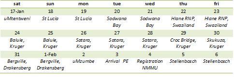 TnT trip schedule